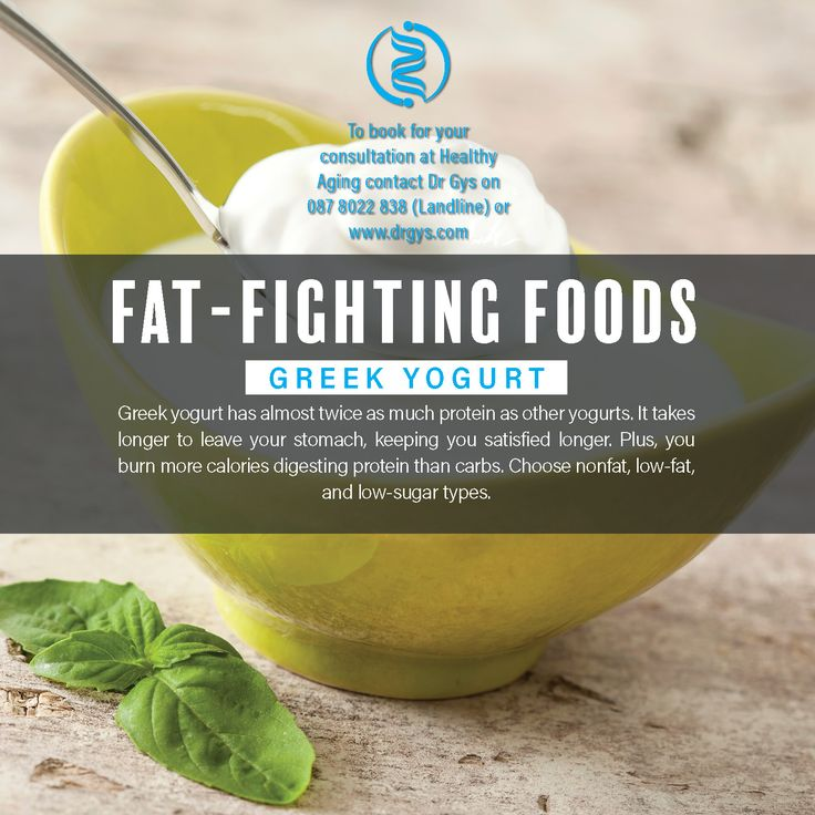 Fat-Fighting Foods Greek Yogurt Greek yogurt has almost twice as much protein as other yogurts. It takes longer to leave your stomach, keeping you satisfied longer. Plus, you burn more calories digesting protein than carbs. Choose nonfat, low-fat, and low-sugar types. For more information or bookings contact hello@drgys.com