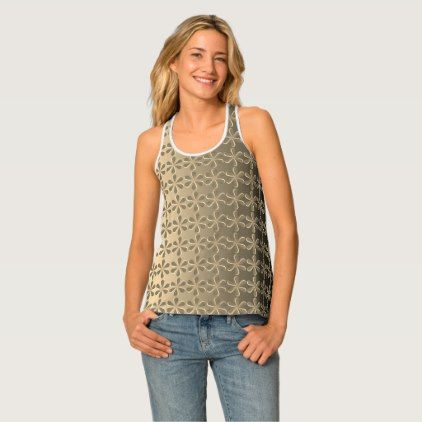Floral Pattern Sepia Color All-Over Print Tank To - pattern sample design template diy cyo customize