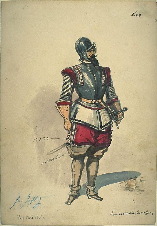 Kostümentwurf für die Figur eines lombardischen Kürassier aus 'Wallenstein' von Friedrich von Schiller | Franz Gaul | Bildindex der Kunst & Architektur