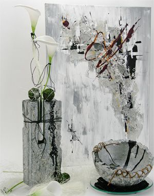Powertex vase and bowl