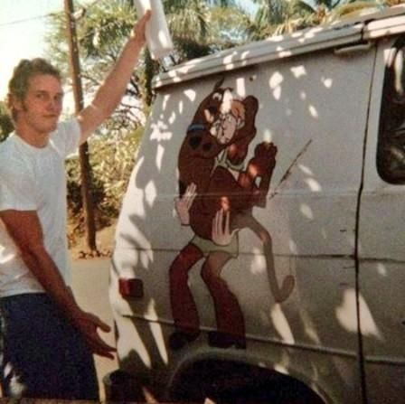 Chris Pratt, homeless, living in this van, holding the script to his first acting job