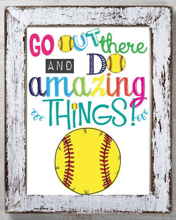 This is a fun Instant Download File for Softball Players, Softball Kids and Softball Party. It has a Yellow Softball and it Reads:  Go out there and do amazing things! in bright colorful typography. It is an inspiring and encouraging quote that you can repeat to your kids everyday! Simply Download and Print and hang in their room or playroom. This Softball instant download can also be used for Softball Team Parties, Softball Party Favors, Softball Birthdays, Softball Team Gifts and more…