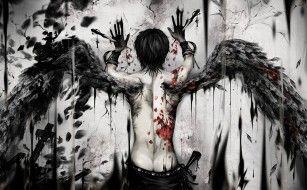 фэнтези, ангелы, спина, крылья, арт, парень, кровь, ангел