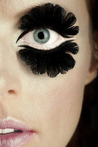 White Liner And Feather Lashes