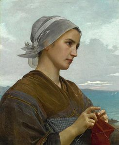 Knitting Painting - Tricoteuse Bretonne by William-Adolphe Bouguereau
