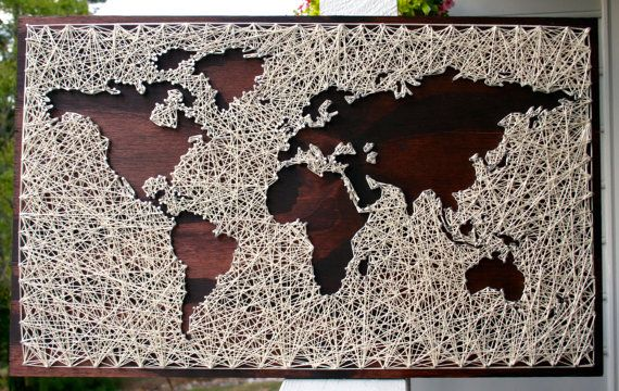 "26""x16"" World Map String Art 