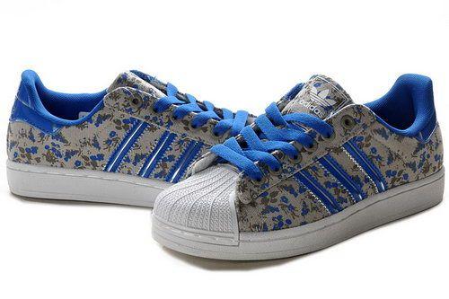 Womens Adidas Superstar II 3D Blue Floral | Sneakers
