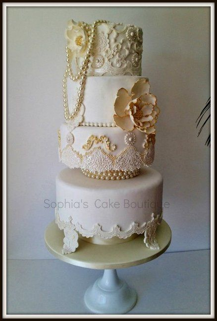 Victorian Ivory And Gold Wedding Cake Hand Piped Lace Work Edible