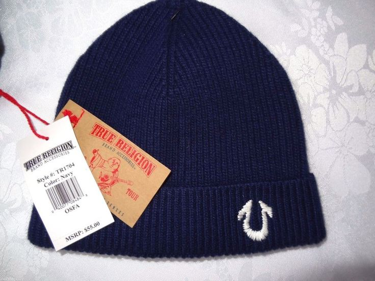 True Religion Mens Ribbed Knit Beanie Hat Navy Cashmere Blend NEW #TrueReligion #Beanie