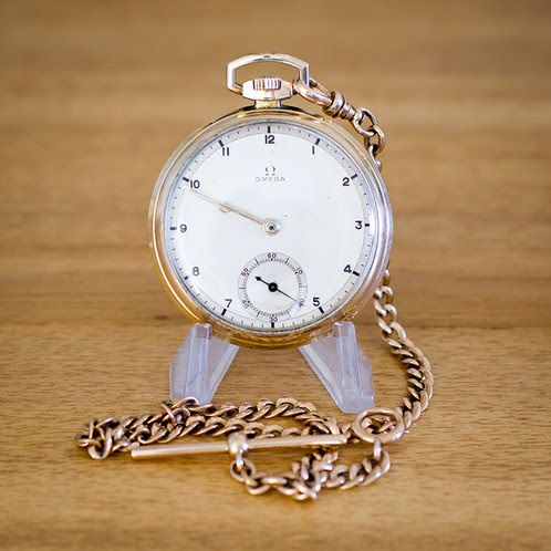 Omega 15 Jewel Pocket Watch with Solid 14k Albert chain. | Time Pocket Watches | Vintage Pocket Watches for Sale | Durham