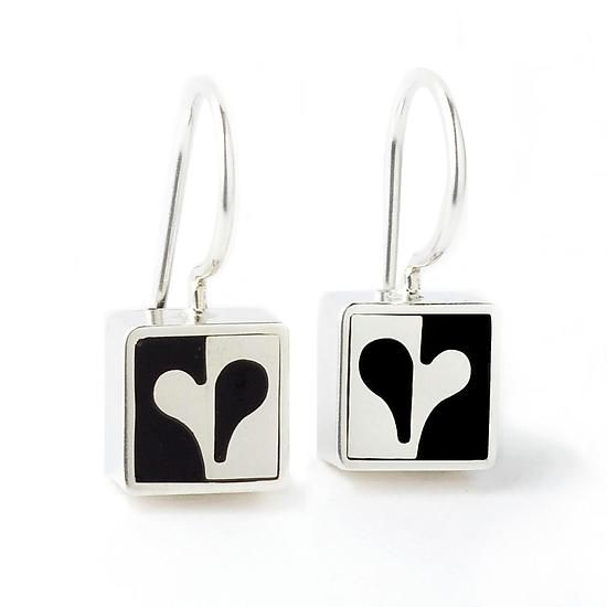 """Mini Half Heart Earrings"" Silver & Resin Earrings created by Victoria Varga on Artful Home"