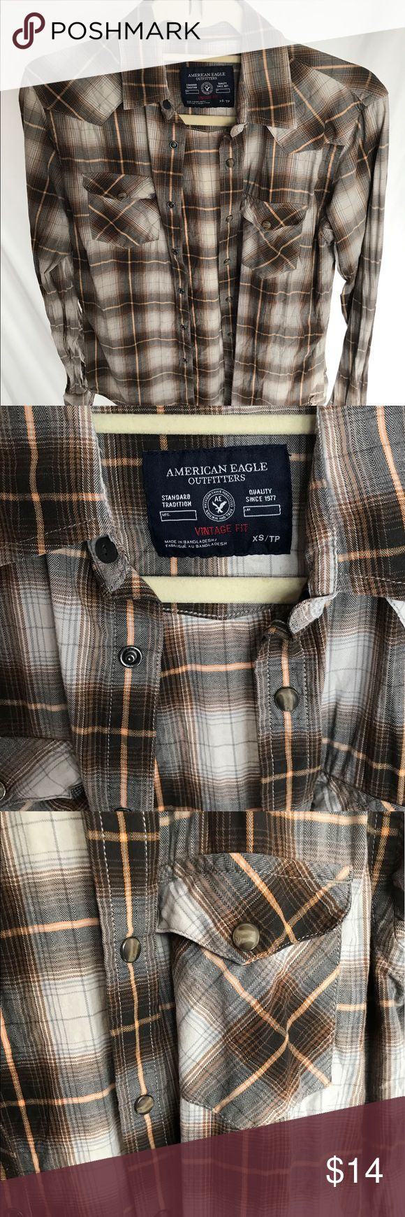 American 🦅 Eagle Men's Americana Button Down XS American 🦅 Eagle Americana Button Down with dual breast pockets in Gently loved Condition. Size XS it's a men's, but I've worn it as an over shirt with jeans🙂 #'s men's, shirt, top, Button Down, western, fit, American Eagle, sale 🛍 priced to sell ❤️🐱Kitty American Eagle Outfitters Shirts Casual Button Down Shirts