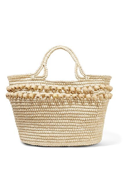 Sensi Studio Wood Bead-Embellished Woven Toquilla Straw Tote, $270 $148.50, available at The Outnet.  #refinery29 http://www.refinery29.com/beach-bags-for-summer#slide-3