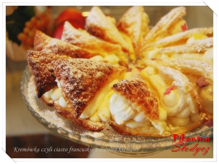 Pikantna Słodycz: Kremówka, czyli ciasto francuskie z dwoma kremami http://pikantnaslodycz.blogspot.com/2013/06/kremowka-czyli-ciasto-francuskie-z.html