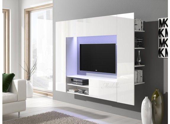 Wandmeubel Nitro - Wit. Wandmeubel Nitro is een modern en bijzonder tv-meubel met ruim voldoende opbergmogelijkheden. Dit meubel is uitgevoerd in wit welke gedeeltelijk hoogglans is afgewerkt. De set bestaat uit een groot zwevend tv-meubel met opbergruimte aan de voor- en achterkant.