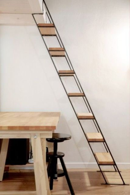 minimalist industrial wood and metal ladder                                                                                                                                                                                 More