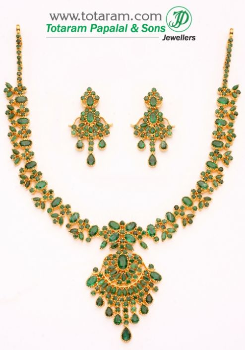 22 Karat Gold Emerald Necklace & Drop Earrings set: Totaram Jewelers: Buy Indian Gold jewelry & 18K Diamond jewelry