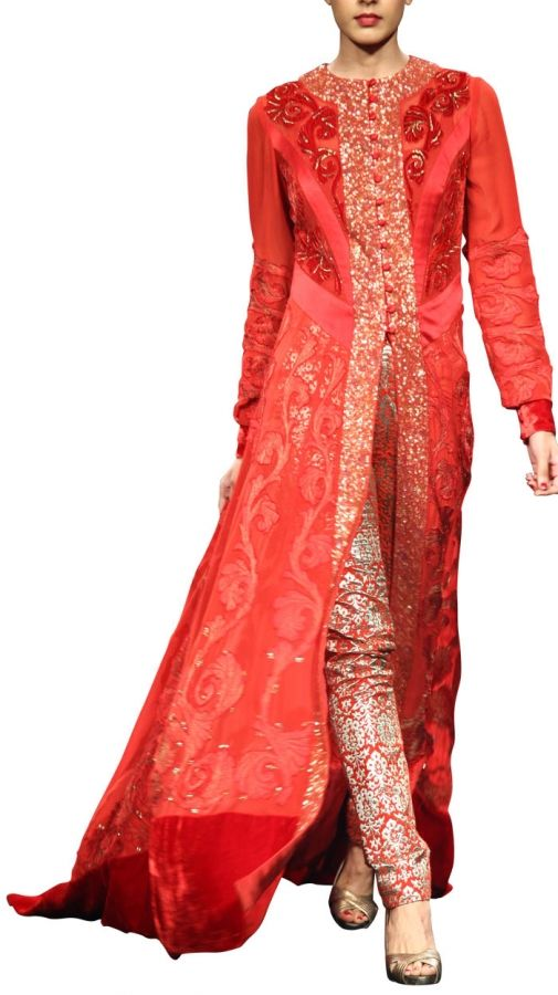 Elegant Red Dress | Strandofsilk.com - Indian Designers - Indian Dresses - Indian Style - Red Dress with Brocade Pants - Elegance @Maria Canavello Mrasek Canavello Mrasek Heaton @jen LR Valero @Diya Chakraborty Chakraborty Chalaveetil @Angela Gray Anglin Helton @Kylie Knapp Knapp Burback