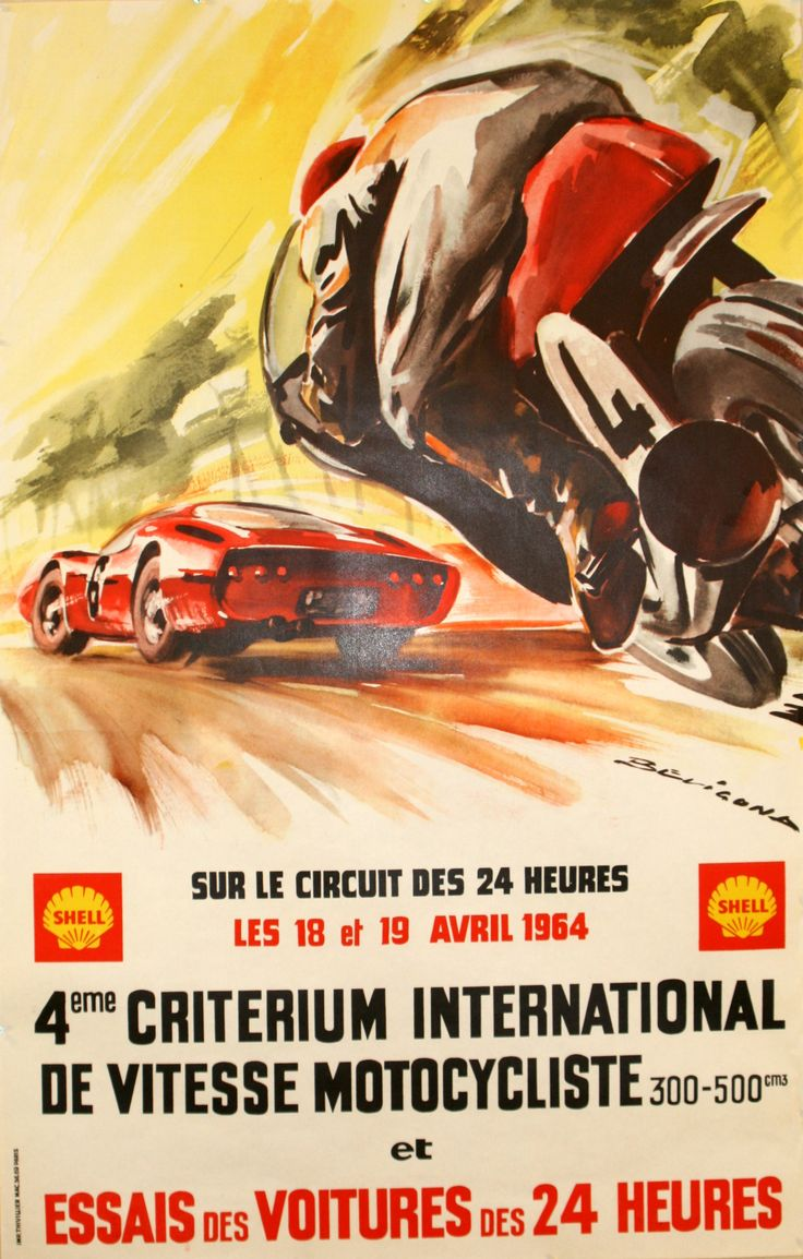 24 hour circuit 1964 original vintage poster by beligond listed on
