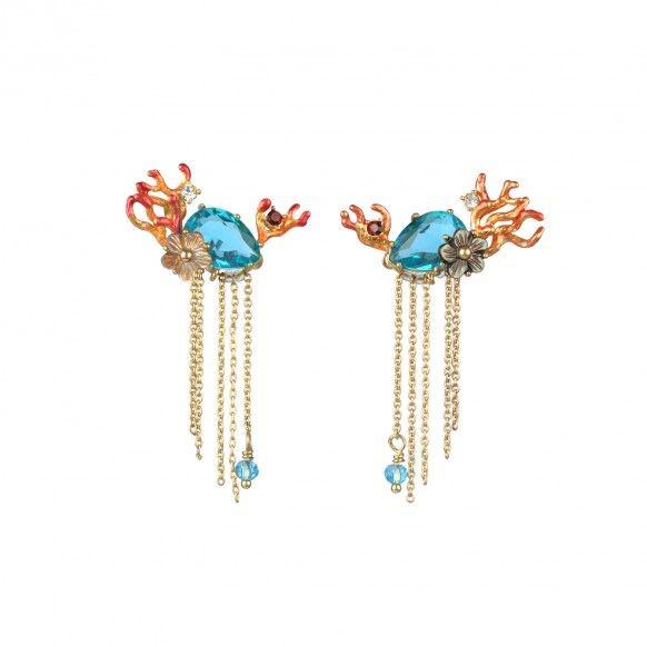 Boucles d'oreilles pierre bleue océan, coraux et chaines