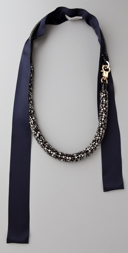 3.1 Phillip Lim Navy Rhinestone Embroidered Necklace
