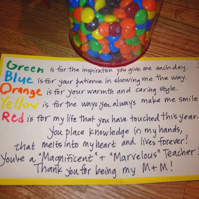 Bucket Of M&M's And Cute Note...given To Me From A Student