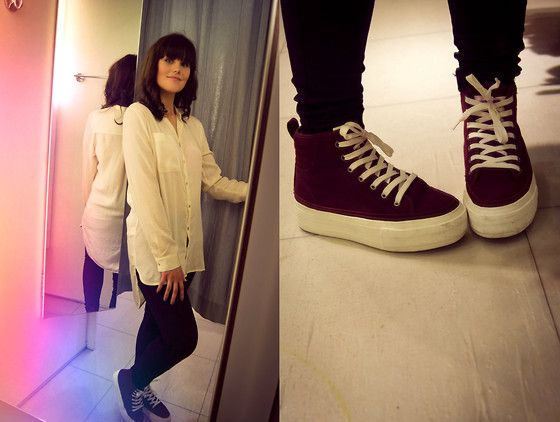 "Noodles Burgundy High Shoes, H&M ""Silk"" Blouse"