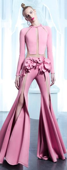 Pink silk jumpsuit with floral detailing for Nicolas Jebran Spring 2015 Couture