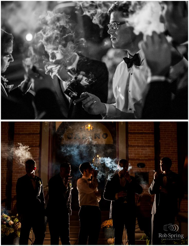 Groomsmen with cigars after dark outside, smoke with backlight, Saratoga…