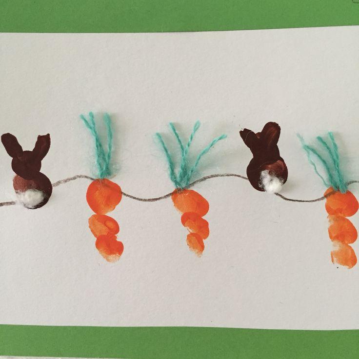 Fingerabdruck U3 Kita Krippe Kids Easter basteln Fingerfarbe Ostern kreativ diy selfmade