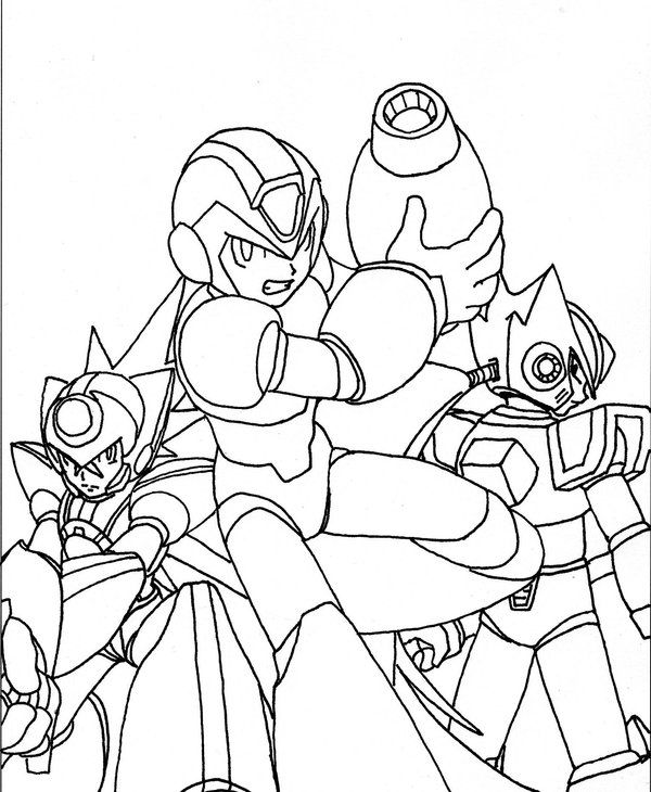 Megaman vs sonic coloring pages