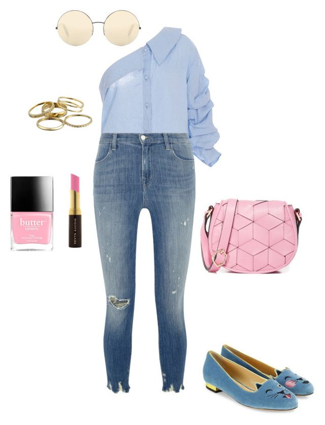 """""""Sunday Brunch"""" by lawastyle on Polyvore featuring Johanna Ortiz, Charlotte Olympia, J Brand, Welden, Butter London, Kevyn Aucoin, Kendra Scott and Victoria Beckham"""