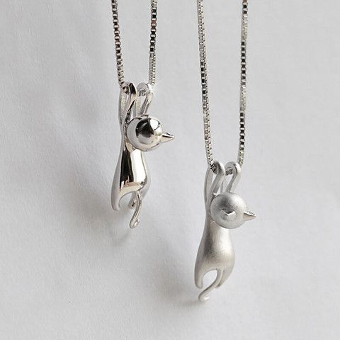 Silver Kitty Cat Charm Pendant Necklace