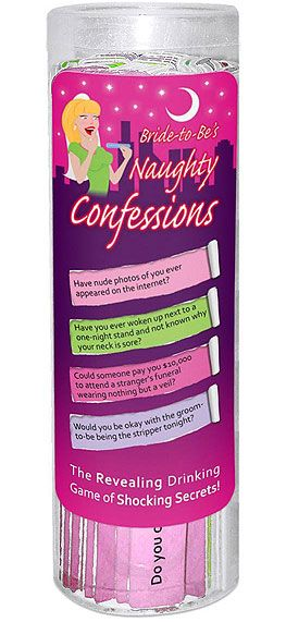 A fun game to add to your next bridal shower or bachelorette party, its a large package of Bride To Be Naughty Confessions - A great game to play at home or out on the town.