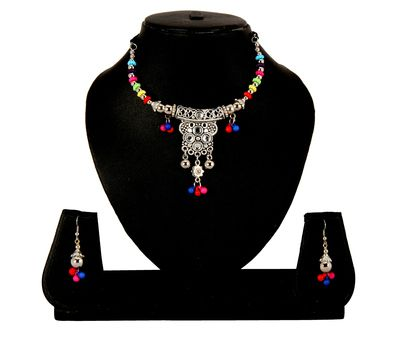 647 Adoreva Garba Navratri Multi Colour Necklace Earrings Set For Women And Girls Necklaces and Necklace Sets on Shimply.com