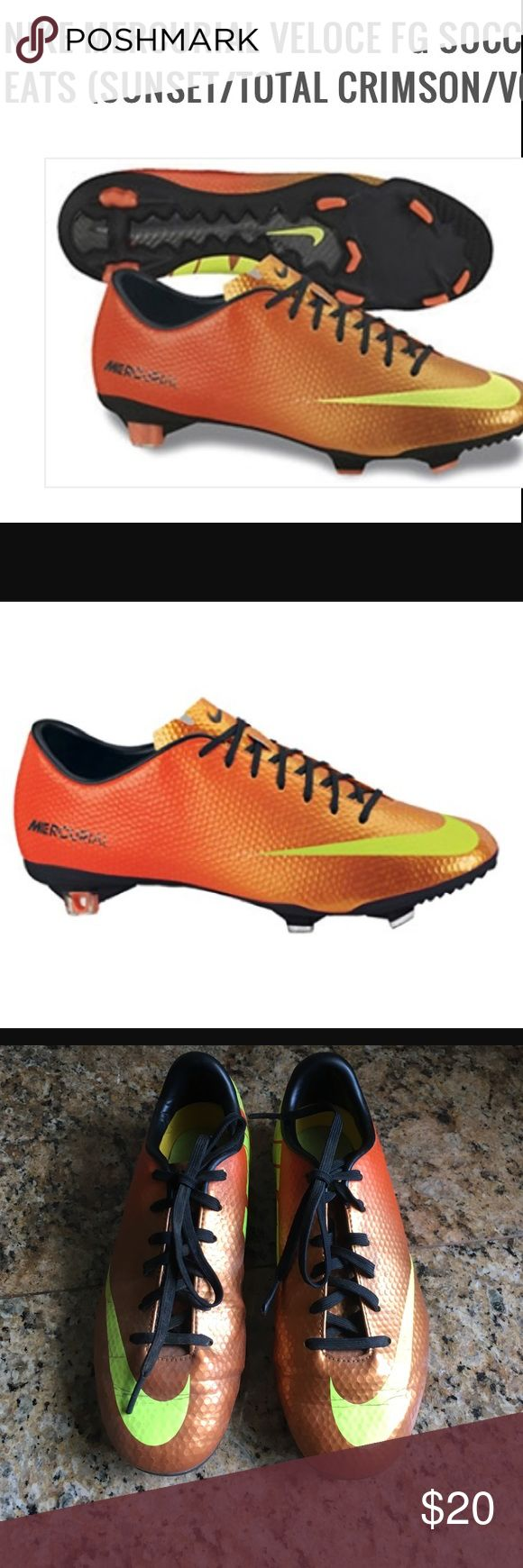 NIKE Mercurial youth cleats ⚽️ NIKE Mercurial boys youth cleats. Orange with yellow NIKE check and logo. Size 2.5 youth. Good used condition. ⚽️ Nike Shoes Sneakers