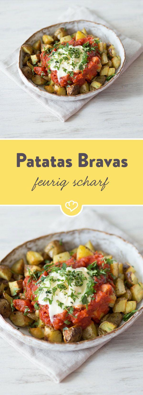 """""""Mutige Kartoffeln""""- so nennt sich der spanische Klassiker mit würzige Kartoffelstücken und würziger Sauce. Unglaublich lecker - auch für Angsthasen."""