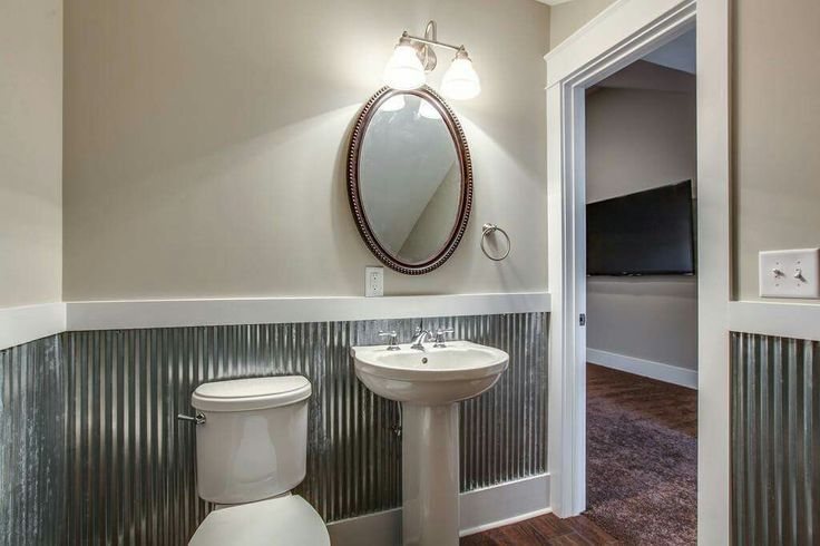 Corrugated Metal Wainscoting Diy Bathroom Painted