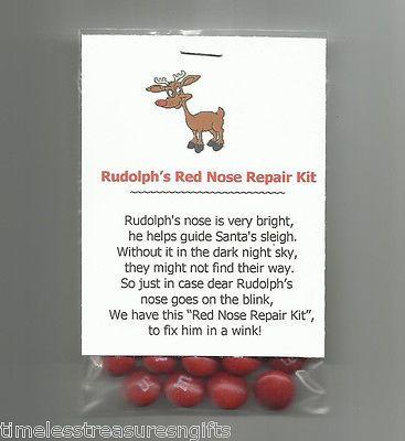 NEW Rudolph's Red Nose Repair Kit Novelty Gag Gift Stocking Stuffer Favor Candy