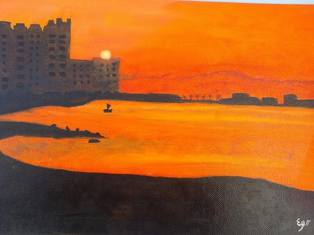 oleo sobre lienzo puesta de sol