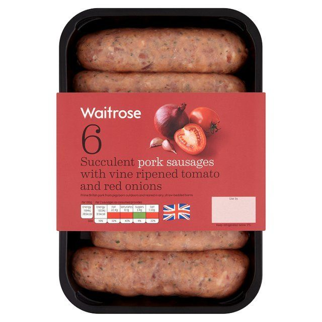 Succulent, Vine Ripened Tomato Salsa Pork Sausages with Herbs Waitrose 400g