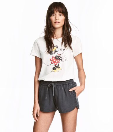 White/Minnie Mouse. T-shirt in cotton jersey with a printed motif at front.