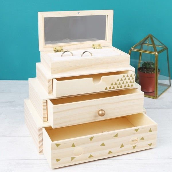 A stacked wooden jewellery box designed by our creative team here at the Lisa Angel UK Studios, lovingly personalised with a name of your choice. This gorgeous