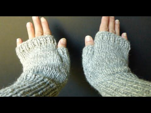 WATCH How To KNIT Basic Fingerless Gloves (Adult Sm/Med size) 4 Advanced Beginner - YouTube
