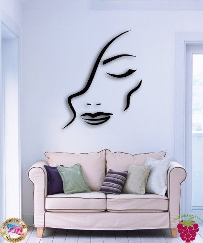 Wall Vinyl Stickers Fashion Girl Woman Female Face Model Decor For Bedroom  Z1527m DesignToRefine,http
