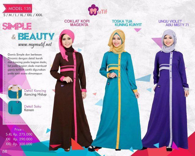 Gamis Mutif Model 135 - Kaos Muslimah dengan desain yang simpel dan berkesan Dinamis dengan detail kerah dan kancing pada bagian dada. Aksen list pada bagian...