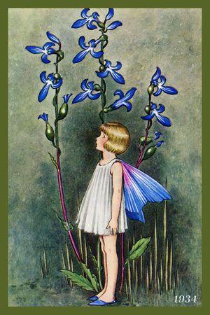 Olde America Antiques | Quilt Blocks | National Parks | Bozeman Montana : Ida Outhwaite Fairies - Fairy and Flowers 2-1934