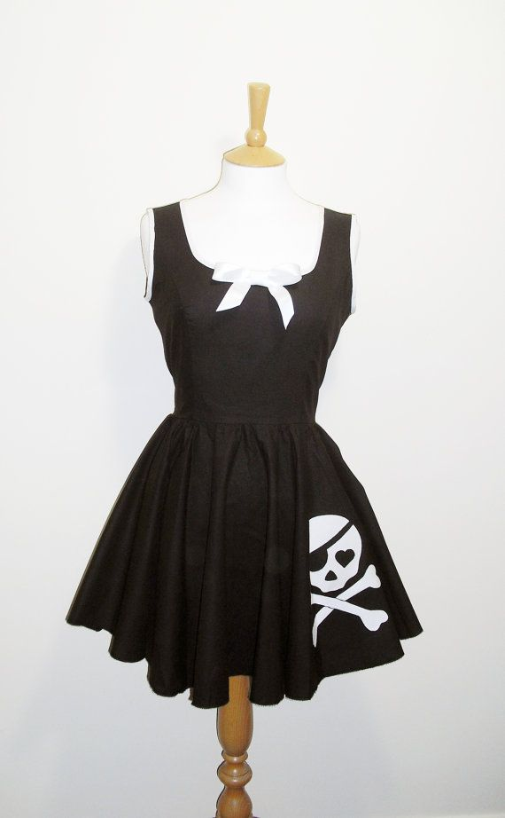 Skull Party Dress Halloween Party Dress Gothic Swing by Dollydripp, £75.00