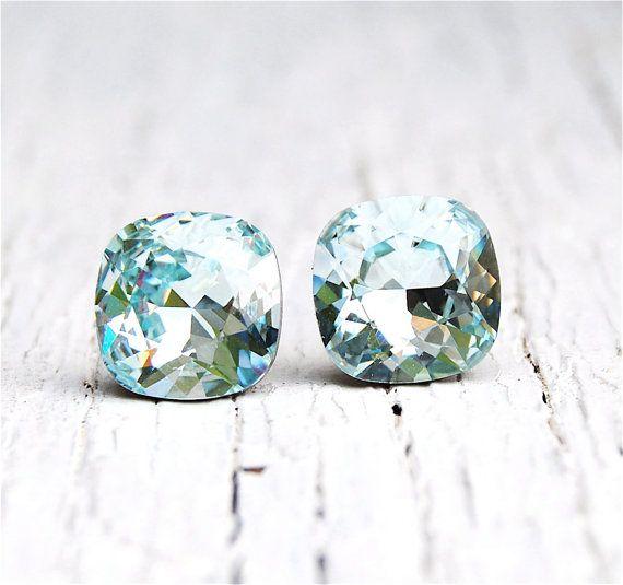 Aquamarine Earrings Super Sparklers Square Swarovski Crystal Icy Aqua Blue Stud Earrings Mashugana on Etsy, $26.42 CAD