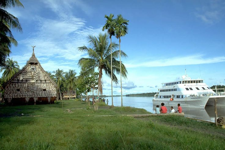 A luxury tourist cruise along the famous Sepik River in Papua New Guinea.